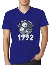 Blowing Out Candles Since 1992 25th Birthday Gift V-Neck T-Shirt Funny Present