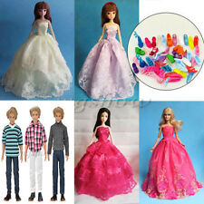 5Pcs Handmade Doll Clothes Wedding Gown Dresses Party &10 Shoes For Barbie Dolls