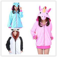NEW Unicorn& Panda Polar Fleece Animal Hoodie Cosplay Coat Unisex Jacket Sweater