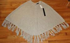 NEW NWT Womens Banana Republic Sweater Fringe Poncho Heather Grey $109.99 *E8