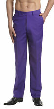 CONCITOR Men's Dress Pants Trousers Flat Front Slacks Solid PURPLE INDIGO Color