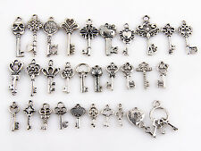 Mixed New Crafts Assorted 29 Antique Silver Key Charms Pendants Findings Lots