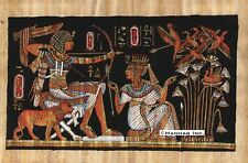 """Egyptian Papyrus Painting - King Tut Hunting 8X12"""" + Hand Painted #32"""