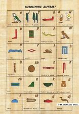 """Egyptian Papyrus Painting - Hieroglyphic Alphabet 8X12"""" + Hand Painted #97"""