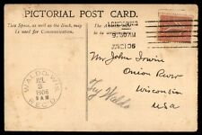 London Wi 1906 Single Franked Post Card To Onion River W/ Waldo Arrival Cancel