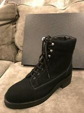 CHANEL 16A Tweed CC Logo Lace Up Ankle Combat Hiking Boots Shoes Black $1450