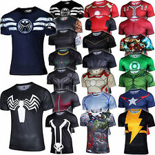 Men T-shirt Avengers Marvel Batman Iron man Deadpool Shirt Sports Jersey Costume