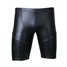 Men Sexy Faux Leather Bodycon Shorts Boxer Underwear Male Bondage Lingerie Pants