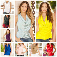 Elegant Lady Loose Vest Top Sleeveless Blouse Solid Casual Tank Tops T-Shirts