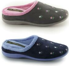 Sleepers ISABELLA Ladies Cosy Floral Embroidered Comfort Slip On Mule Slippers