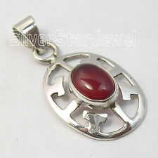 925 Pure Silver Authentic RED CARNELIAN WELL MADE CELTIC Pendant 3.1 CM HANDMADE