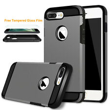 Matte Hard Plastic TPU Hybrid Shockproof Case Cover for iPhone 7/ Plus Free Film
