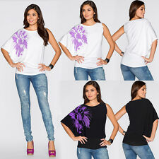 Ladies Casual Loose Bat Wing Sleeve Short Tops Floral Print Tunic T Shirt Blouse