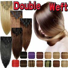 Professional Double Thick Weft Clip In 100% Human Hair Extensions Full Head BS12