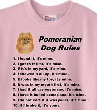 Dog T Shirt Pomeranian Dog Rules 5 Colors Great Gift # 500 Adopt Rescue