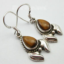 OLD STYLE !! 925 Sterling Silver Classic BROWN TIGERS EYE NICE Earrings 3.4 CM