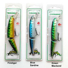 STRIKE PRO JOINTED MINNOW FISHING LURE - 11CM PIKE SEA PREDATOR VMC HOOKS