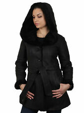 Womens Real Sheepskin Leather Jacket -  Brandslock Toscana Hooded Leather Jacket