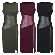 Womens Sleeveless Peplum Formal Work Office Midi Slim Fit Bodycon Pencil Dresses