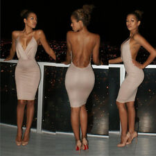 Womens Sexy Deep V-Neck Bandage Backless Party Evening Bodycon Mini Pencil Dress