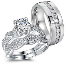 Couple Stainless Steel CZ Infinity Wedding Engagement Matching Ring Band Set