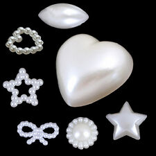 40X Glossy White Half Mixed Pearl Beads Flat Back Scrapbook For Craft FlatBack