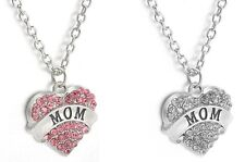 Silver White Clear Pink Heart Crystals Love Pendant Silver Necklace Chain Mother
