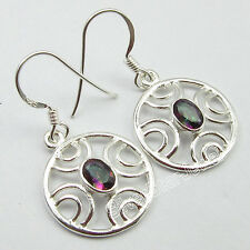 URBAN STYLE Earrings PAIR !! 925 Pure Silver Rainbow MYSTIC TOPAZ Jewelry 3.2 CM