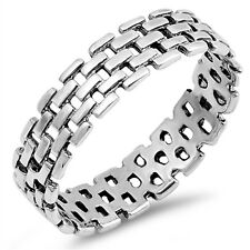 Brick Style Chain Link .925 Sterling Silver Ring Sizes 5-13