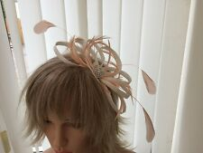 WHITE & PEACH  SINAMAY AND FEATHER FASCINATOR,  WEDDINGS, CAN BE CUSTOM MADE