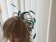 WHITE & TEAL  SINAMAY AND FEATHER FASCINATOR,  WEDDINGS, CAN BE CUSTOM MADE