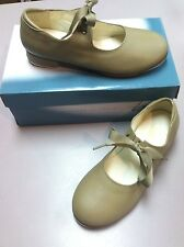Girls Tan Tap Shoes Leos 826 Ribbon Tie, NIB Sev Sizes