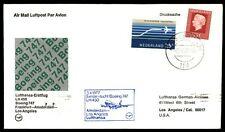 Amsterdam first flight cover to Los Angeles Boeing 747-1977