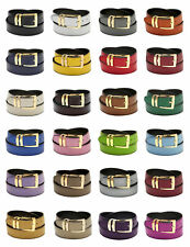 Men's Belt Reversible Wide Bonded Leather Gold-Tone Buckle XL Sizes