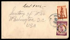 October 16, 1941 Dominicana Cover Multifranked To Washington Dc 1941