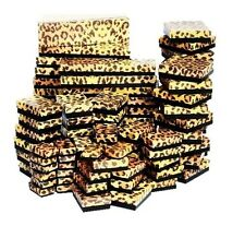 LOT of 20~50~100~500Pcs LEOPARD PRINT JEWELRY BOXES COTTON FILLED BOXES GIFT BOX