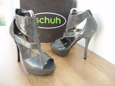 SCHUH PANTHER CUFF GREY PATENT MAN MADE REAR ZIP PLATFORM NEW SHOES RRP £70