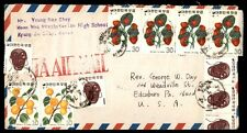 Korea airmail cover with colorful fruit franking high school to USA