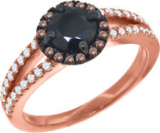 Ladies Sterling Silver Brown Onyx Simulated Diamond Ring in Rose Gold Finish
