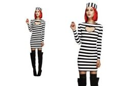 Adult Convict Prisoner Costume Ladies Sexy Bad Girl Fancy Dress Outfi Size 8 - 1