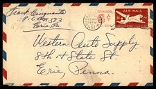 RIVERSIDE CA FEB 17 1953 PICTORIAL CANCEL ON AIR MAIL COVER TO ERIE PENNSYLVANIA