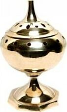 "Tall Brass Censer Charcoal Tablet and Cone Incense Burner [Brass - 7""]"