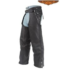 MOTORCYCLE BLACK LEATHER CHAPS WITH REMOVABLE LINER & WITH 3 POCKETS UP TO 10XL