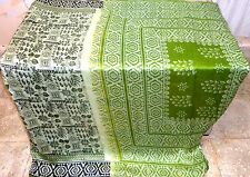 AU Pure silk Antique Vintage Sari  4y Indian Store Su 1596 Nj Black Green #AC7XA