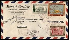 Dominica colorful franking commercial cover registered to USA