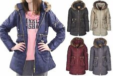 Plus Big Size Parka Womens Quilted Puffer Puffa Jacket Coat Fur Hooded 16 18 20