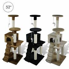 "PawHut 52"" Multi-level Tower Cat Tree Kitten Condo House Kitty Scratching Post"