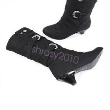 Cute Womens Med Heel Knee High Boots Shoes Belt Buckle Slouchy US Size BDXS1876