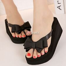 Ladies Beach Sandals Summer Knotbow Shoes Flat Wedge Flip Flops