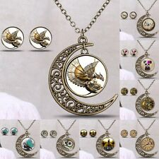 Women Handmade Vintage Owl Necklace Pendant Gem Time Cabochon Glass Jewelry Set